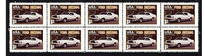 Ford Mustang Auto Icon Strip Of 10 Mint Stamps #4
