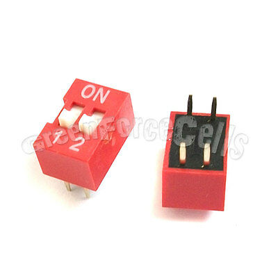 10  2 Position Ways Slide Style DIP Switch 2.54mm Pitch Gold Tone 4 Pin PCB Code
