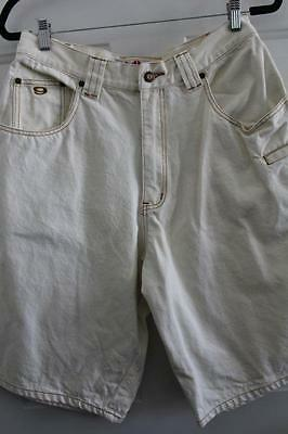 Vtg 9MM INTERNATIONAL INC High Waist Denim SHORTS White ~ Sz M