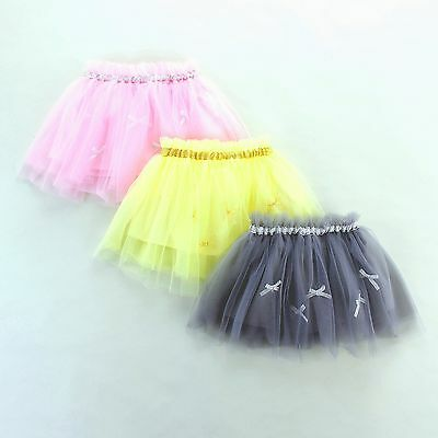 NEW Girls Skirt Cabdy TuTu Kids Party Dance Show Dress Size 2-8 Pink Yellow Grey
