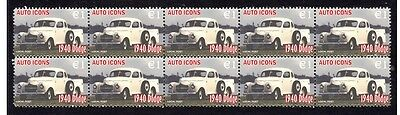 1940 Dodge Auto Icons Strip Of 10 Mint Stamps #2