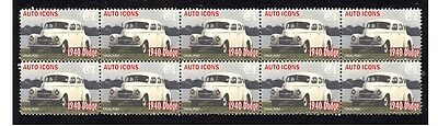 1940 Dodge Auto Icons Strip Of 10 Mint Stamps #1