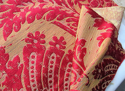 Gorgeous Vintage Silk Brocatelle Fabric Ruby Red & Gold  French
