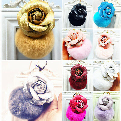 Real Rabbit Fur Ball PomPom Flower Charm Car Keychain Handbag Key Ring Pendant