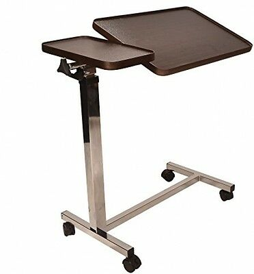 Deluxe Twin Top Over Bed Table Adjustable Height And Angle, Raises With Just 1