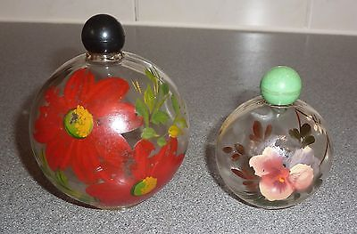 2 x VINTAGE HAND PAINTED GLASS PERFUME BOTTLES *RARE*