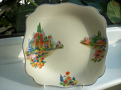Pretty Serving/Cake  Plate, Country Garden Scenes, Square Shaped