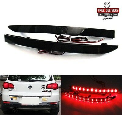 2x VW Black Smoked Rear Bumper Reflector LED Tail Brake Stop Light Tiguan 07+ 5N