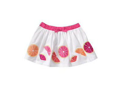 NWT Gymboree FRUIT PUNCH White Embroidered Citrus Fruit Bow Skirt~4T~