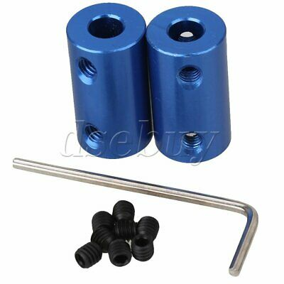 2pcs Shaft Rigid Motor Wheel Coupling Coupler Blue Aluminum Casing 6 x 6mm