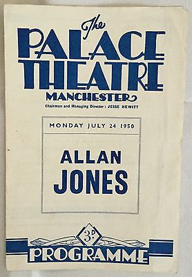 ALLAN JONES at the Palace Theatre Manchester. 1950. Programme.