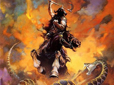 Poster Death Dealer Fantasy Cavaliere Vichingo Knight Viking Frank Frazetta #2