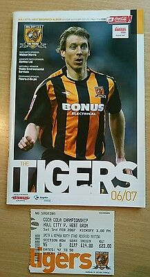 Hull City v West Bromwich Albion programme and ticket, Championship 2006/07