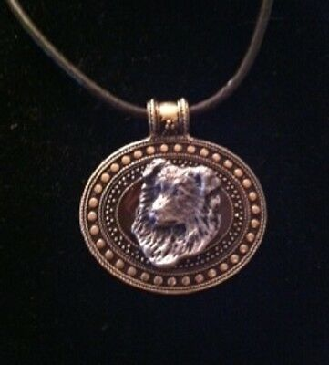 Border Collie Dog Brass Medallion on leather cord~necklace Headpiece