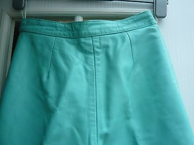 TURQUOISE LEATHER 1980's SIZE 10 VINTAGE TROUSERS
