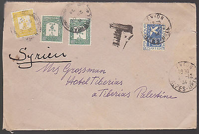 FRANCE to PALESTINE 1934 To Pay Tax Postage Due Cover
