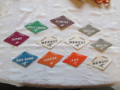 Vintage collectable Malayan Airways luggage labels