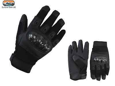 Predator Tactical Gloves Airsoft Military Army Carbon Fibre Neoprene Black