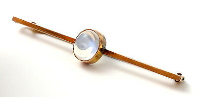 Antique Edwardian 9ct Yellow Gold & Blue Moonstone Brooch