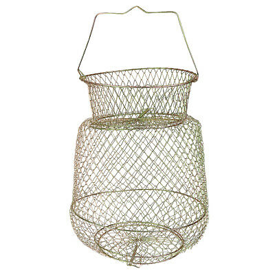 Gold Tone Collapsible Fish Basket Crab Lobster Shrimp Prawn Container 25cm