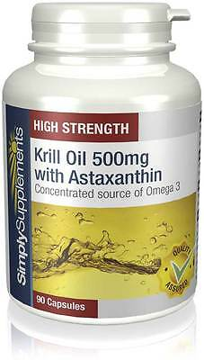 SimplySupplements Krill Oil 500mg with Astaxanthin 90 Capsules (E391)