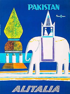 Pakistan Elephant South East Asia Air Vintage Travel Advertisement Art Poster