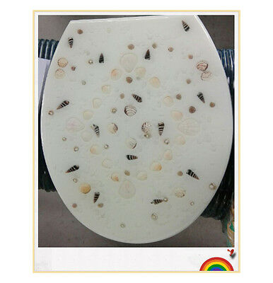 Modern New Resin Shell Printed Bathroom Accessories Safety Clean Toilet Cover #