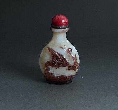 Chinese Hand Carved Magpie Plum Purple Overlay White Glass Snuff Bottle-JR11543