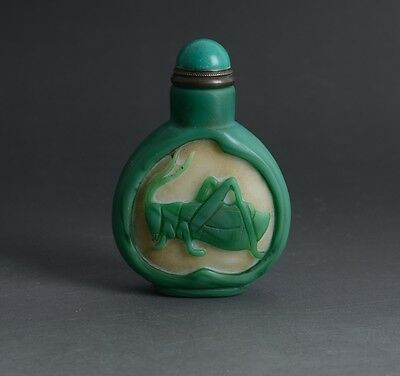 Chinese Hand Carved Locust Peach Green Overlay White Glass Snuff Bottle-JR11547