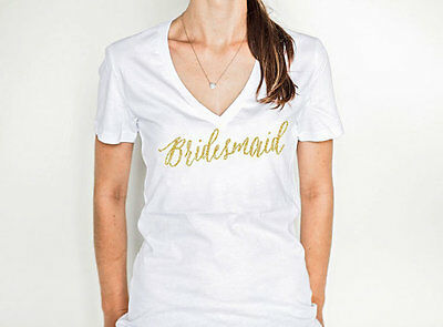 Bridesmaid V-Neck Shirt in Glitter T-Shirt for Bridal Party Gift for Bridesmaids