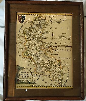Vintage Antique Framed Map of Buckinghamshire Engraved.Hand Coloured.Very unique