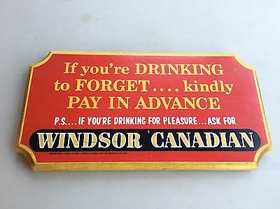 Vintage Windsor Canadian Wood Sign Bar Canada Whisky Decor Man Cave Rare Wow!!