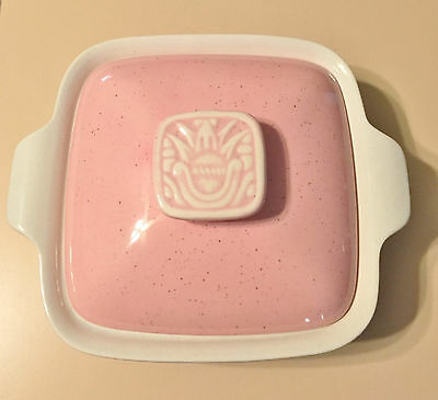 Vintage HOENIG of California Pottery 1950's White Dish with Pink Lid #372 EUC