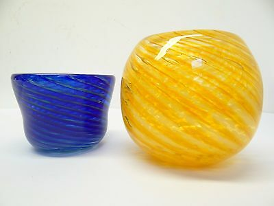 Mixed Lot of Two Blue Orange Art Glass Planters Bowls Flower Pots Used