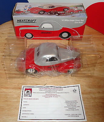 HEATCRAFT 1941 WILLYS COUPE STREET ROD Coin Bank 1:25 1999 Crown Premiums 94041
