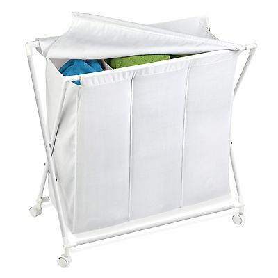 Honey-Can-Do HMP-01387 Rolling Laundry Sorter With Removable Bag Three Bag
