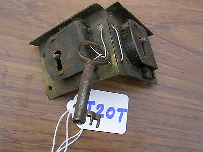 Pair Of Antique Brass Drawer Locks With Working Key