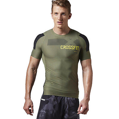 Men's Sports Tee Reebok CrossFit Short Sleeve Compression Shirt Training T-Shirt