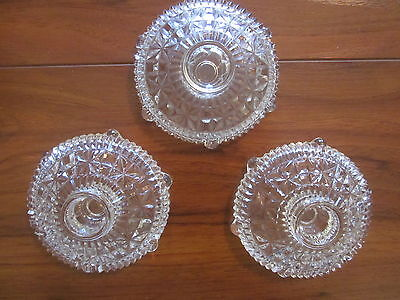Vintage  Pressed Glass Matching Candle Holders - 3 -
