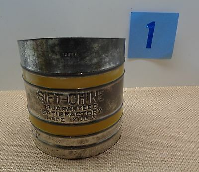 Vintage Savory Sift-Chine Flour Sifter YELLOW Stripes LOT 1 KITCHENWARE