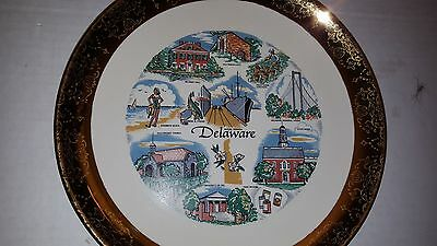 """Delaware Collector's Plate-Detailed With Points Of Interests-Goldleaf Trim-9"""""""