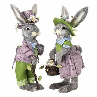 "16"" PICNIC BUNNY COUPLE/Easter Bunny Couple/Easter Decor/MT19972"