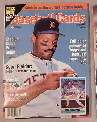 February 1992 Baseball Cards Magazine Cecil Fielder Tigers + Cards