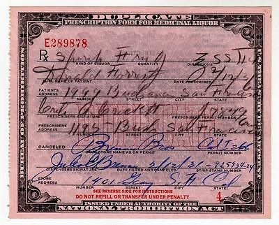 Prohibition Alcohol Whiskey Prescription Old Forrest Pharmacy Doctor Bar 2/12/31