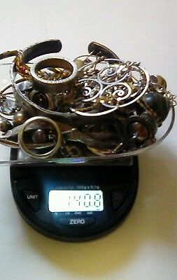 .925 Sterling Silver Jewelry Scrap Lot 140g  With Stones