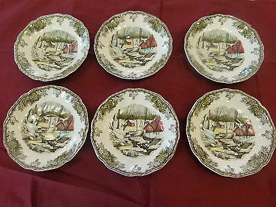 6 Vintage Johnson Bros Friendly Village Ice House Saucers: pat. pending England