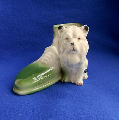 Porcelain White Lion Shoe Germany Pre WWII Match Toothpick Holder Planter