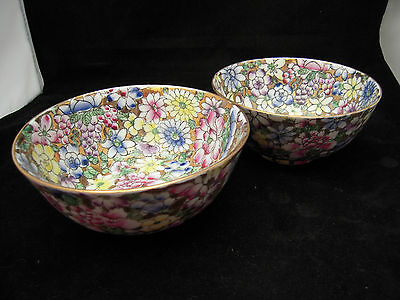 Cloisonne Bowls X 2 Decorated In Hong Kong ACF. Floral Decorative Yellow/Blue.