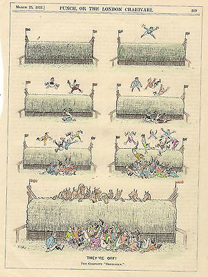 Vintage 1931 HORSE RACING Cartoon for framing