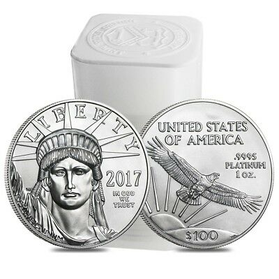 Roll of 20 - 2017 1 oz Platinum American Eagle $100 Coin BU (Lot, Tube of 20)